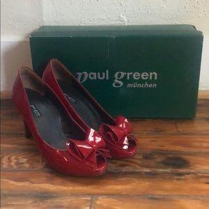 PAUL GREEN MUNCHEN red patent bow peep toe heels